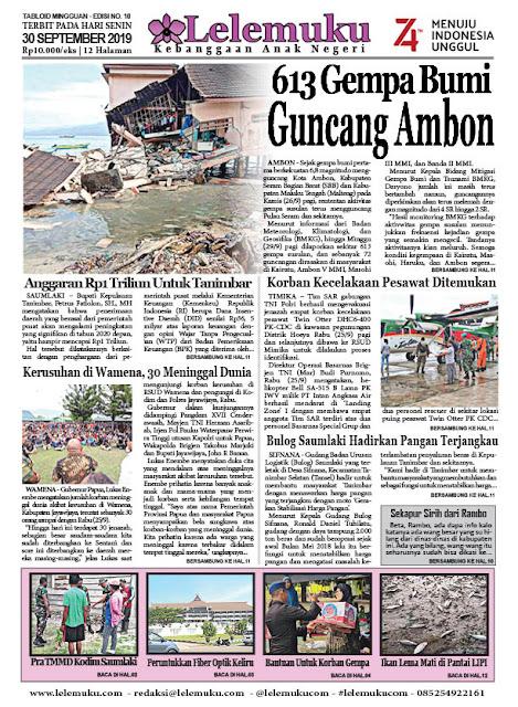 Tabloid Lelemuku #10 - 613 Gempa Bumi Guncang Ambon - 30 September 2019