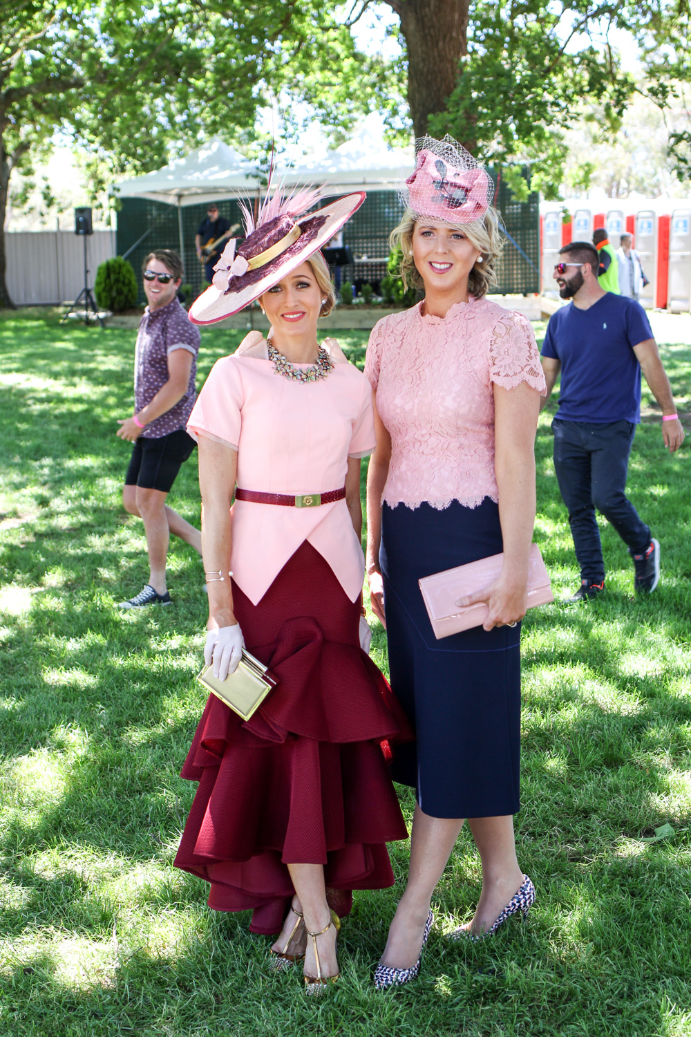 Millinery designer Carle with friend Chrissy at Ballarat Cup 2016