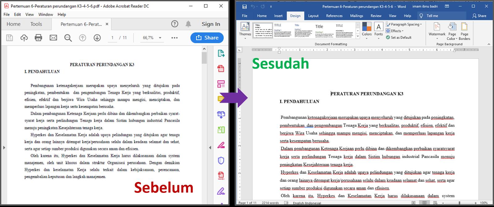 Hasil Sebelum (.pdf) dan sesudah (dibuka dengan Word).
