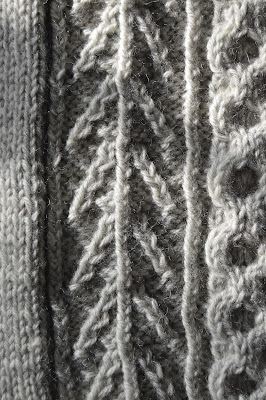 Knitting a cabled sweater from Knit Picks' Woodsmoke Collection. The Honeycomb Sweater.