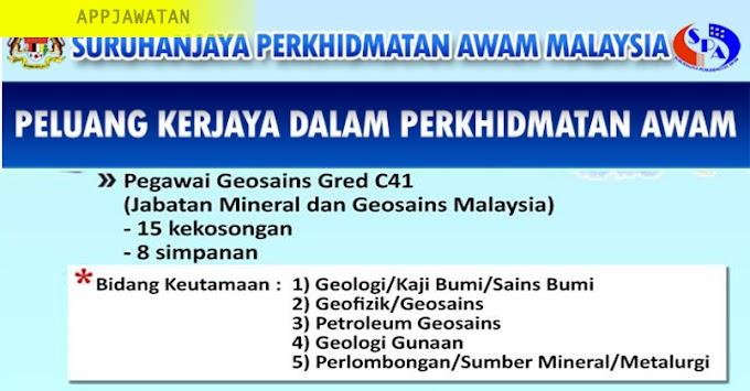 Jawatan Kosong di Jabatan Mineral dan Geosains Malaysia - 18 Februari 2019