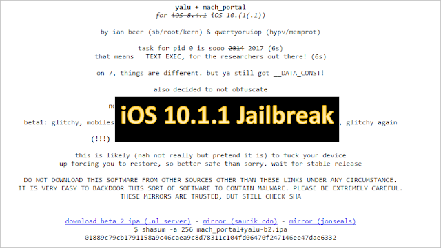 As promised, well-known hacker Luca Todesco has released a beta jailbreak for iOS 10.1.1 and iOs 10.1. Please note that it is currently only for jailbreak developers. The first iOS 10.1.1 beta jailbreak