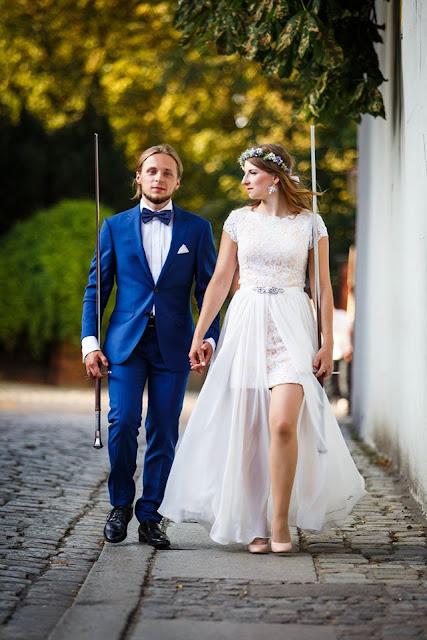 Kolczyki ślubne i aplikacja na suknię ślubną sutasz