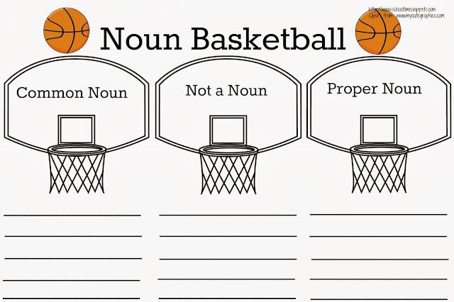 Common Noun vs. Proper Noun Basketball {Free Printable}   School ...