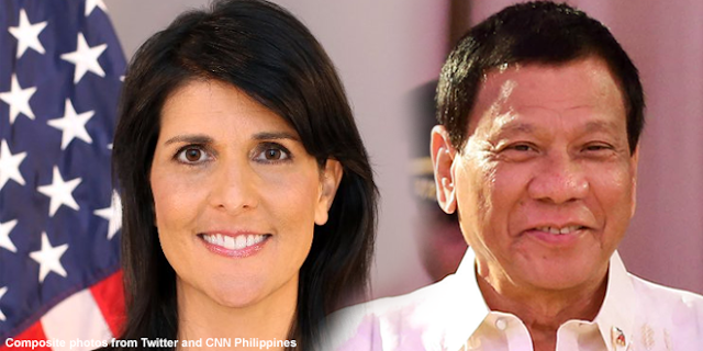 "UN's US Ambassador advised UN to give Duterte ""space to run his nation"""