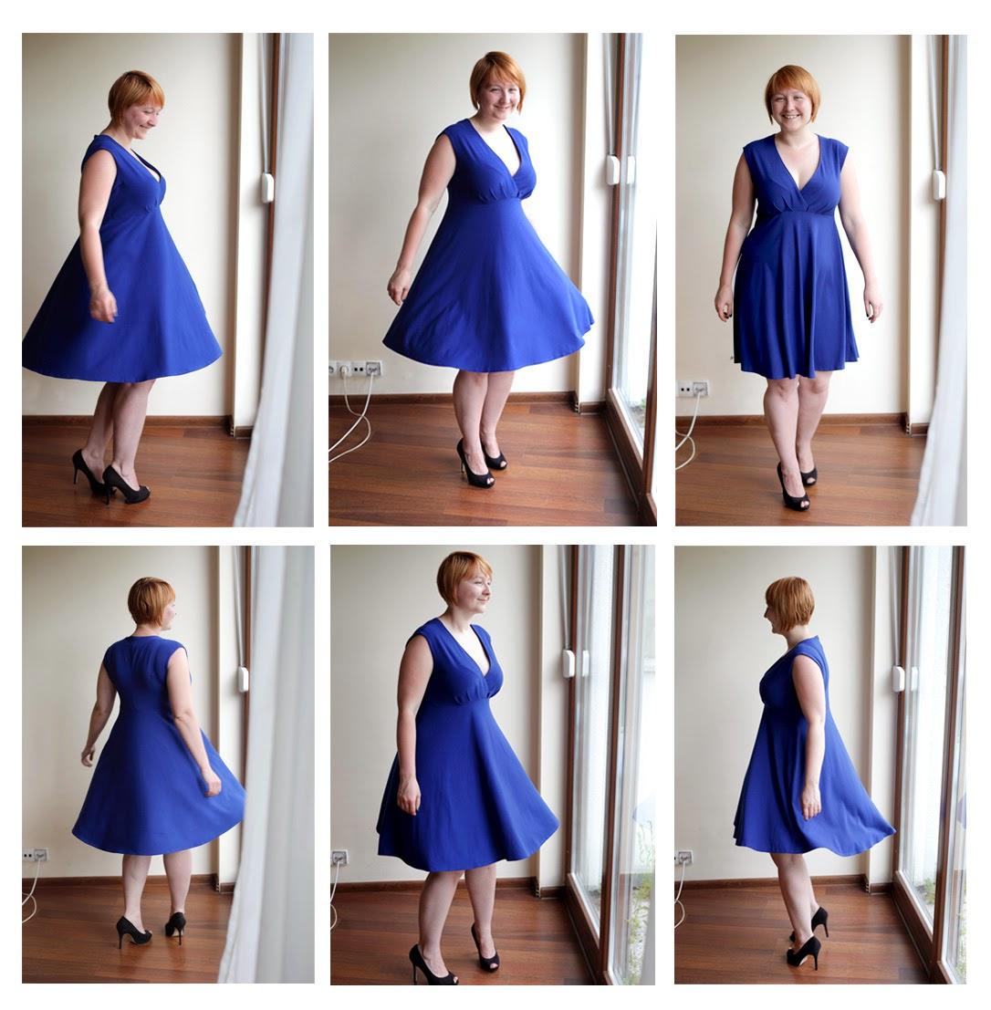 Sukienki, sukienka, z zakładkami, zakładana na biuście, dzianina, elastyczna, z koła, z półkoła, Anna, moda na szycie, 3/2013