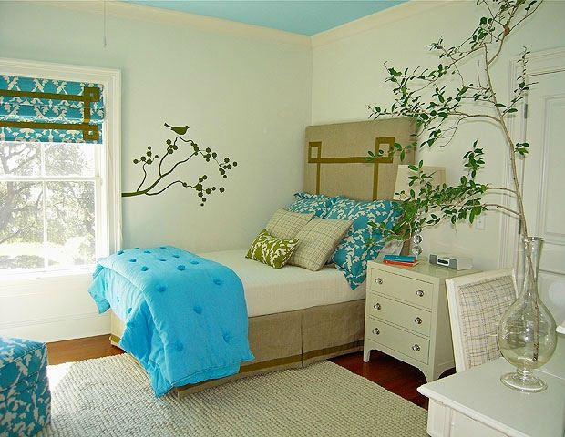 blue white turquoise bedroom design decor
