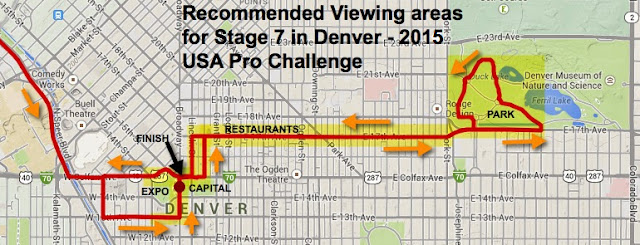 Pedal Dancer recommended viewing locations for Stage 7 in Denver (click image to enlarge)