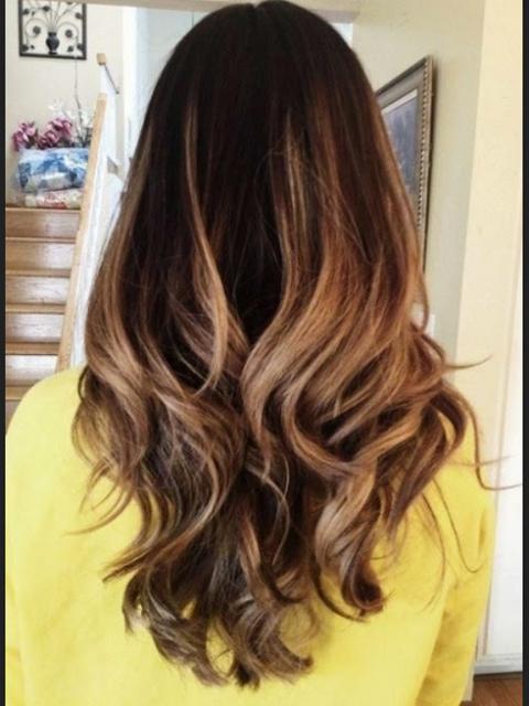 rambut segi panjang kombinasi curly