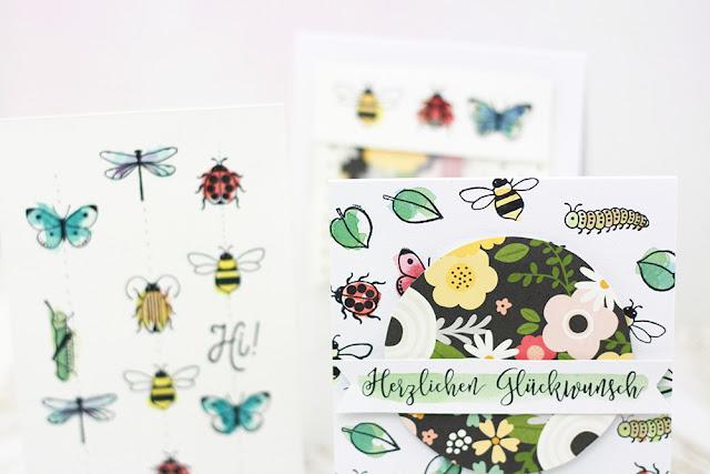 Workshop Crop in den Mai - Karten basteln - Stempelabdrücke mit Aquarellfarbe colorieren