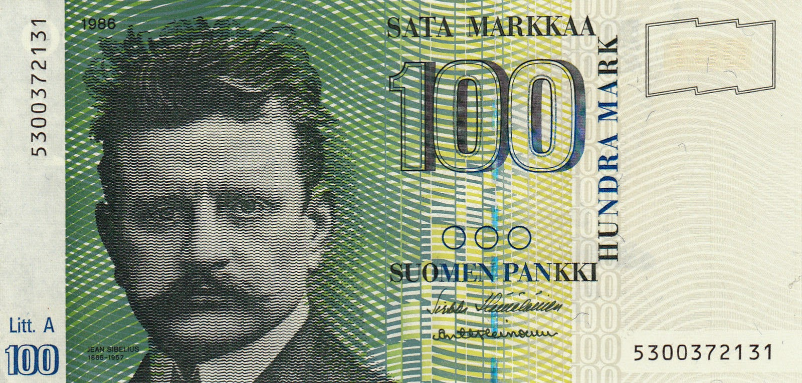 Finland currency money 100 Finnish Markkaa Banknote
