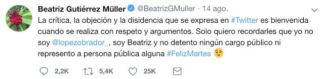 Beatriz Gutiérrez Müeller hace agenda