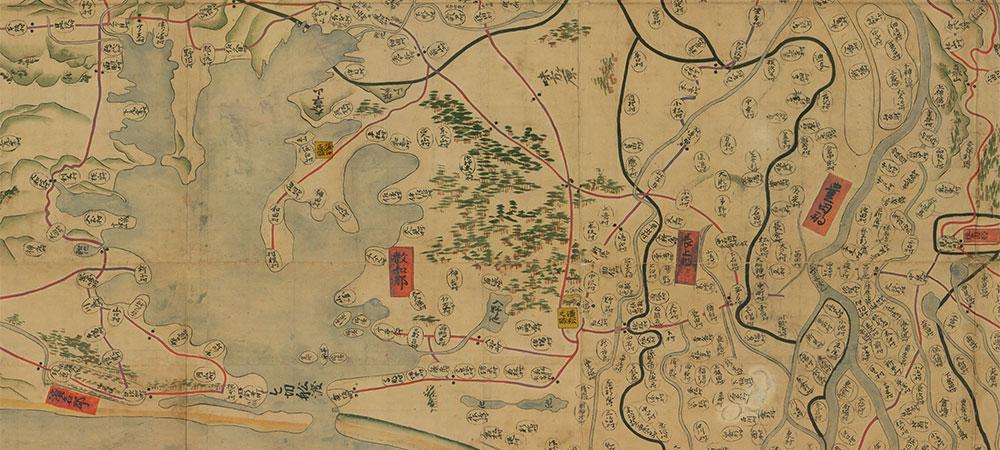 国立公文書館デジタルアーカイブからダウンロード可能な正保遠江国絵図の敷智郡周辺図