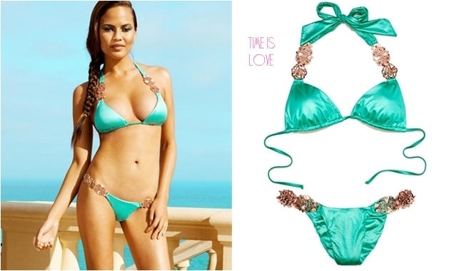 Beach Bunny time is love green bikini