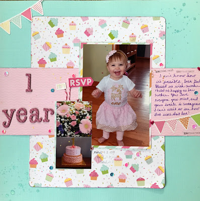 How to create a sparking one year old girl birthday scrapbook layout