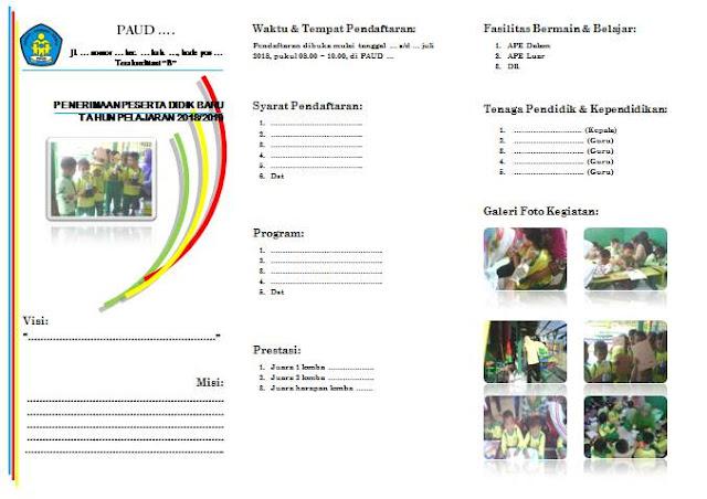 Contoh brosur penerimaan siswa baru ini kami sediakan bagi panitia penerimaan siswa  Geveducation:  Contoh Brosur Penerimaan Siswa Baru di PAUD (Terbaru)