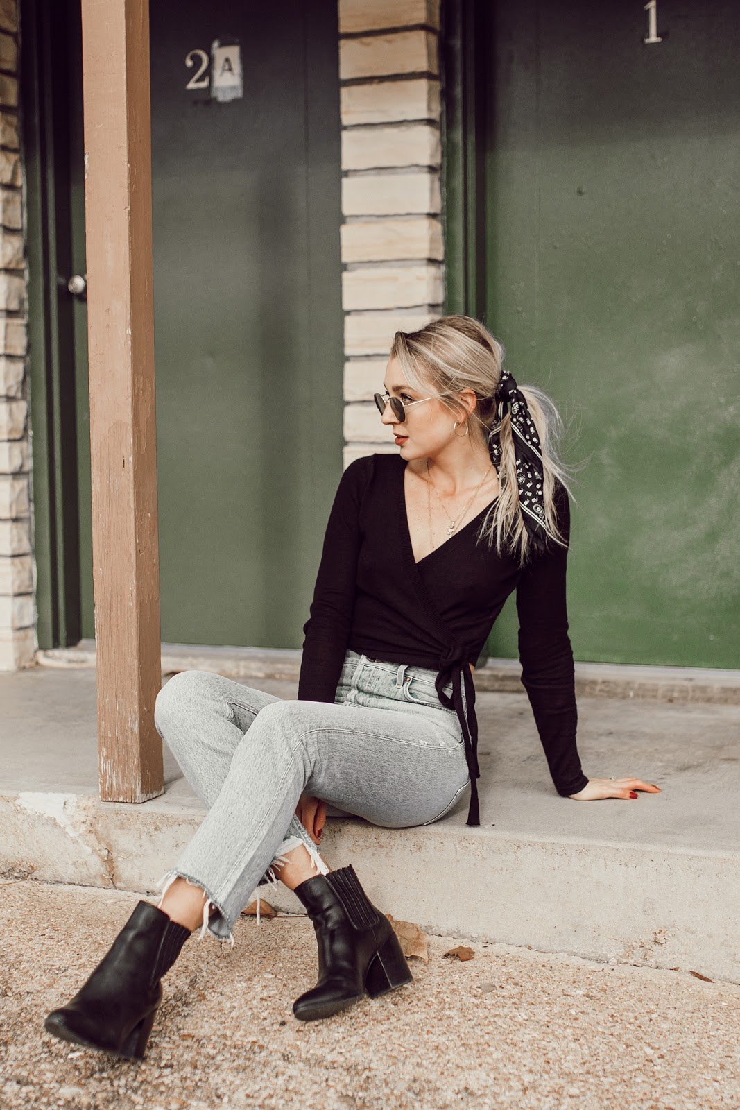 wrap top and mom jeans