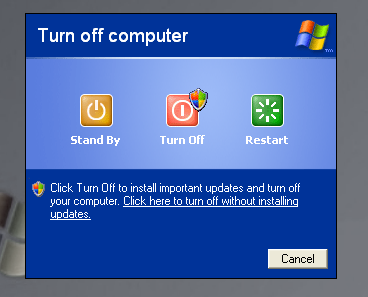 turn off computer box with important updates install