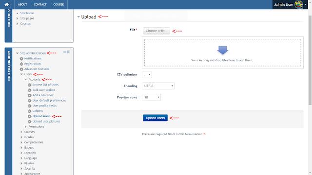 Upload User Moodle Dengan Format CSV