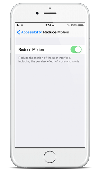 Reduce Motion iOS 8 iPhone 6