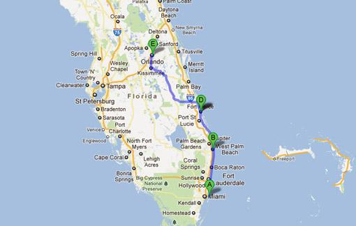 Viaje en auto desde Orlando a Miami