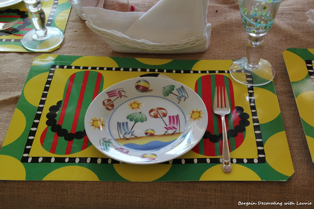 Flip Flop Placemats and beach chair plates-Bargain Decorating with Laurie