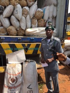 Customs intercepts trucks filled with foreign rice, cannabis
