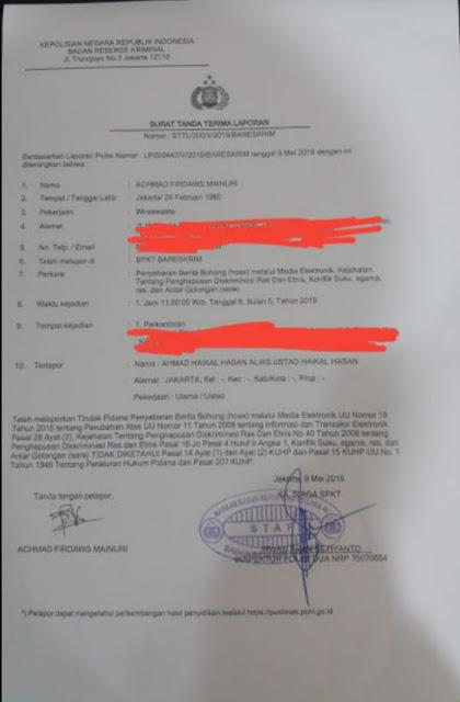 Haikal Hassan Dilaporkan ke Polisi Atas Dugaan Hoax dan Ujaran Kebencian