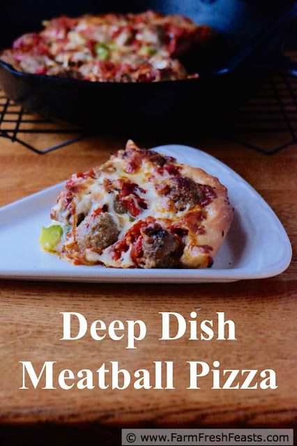 A pizza you can really sink your teeth into--this is filled with meatballs and vegetables sandwiched between two layers of cheese in a hearty deep dish pizza.
