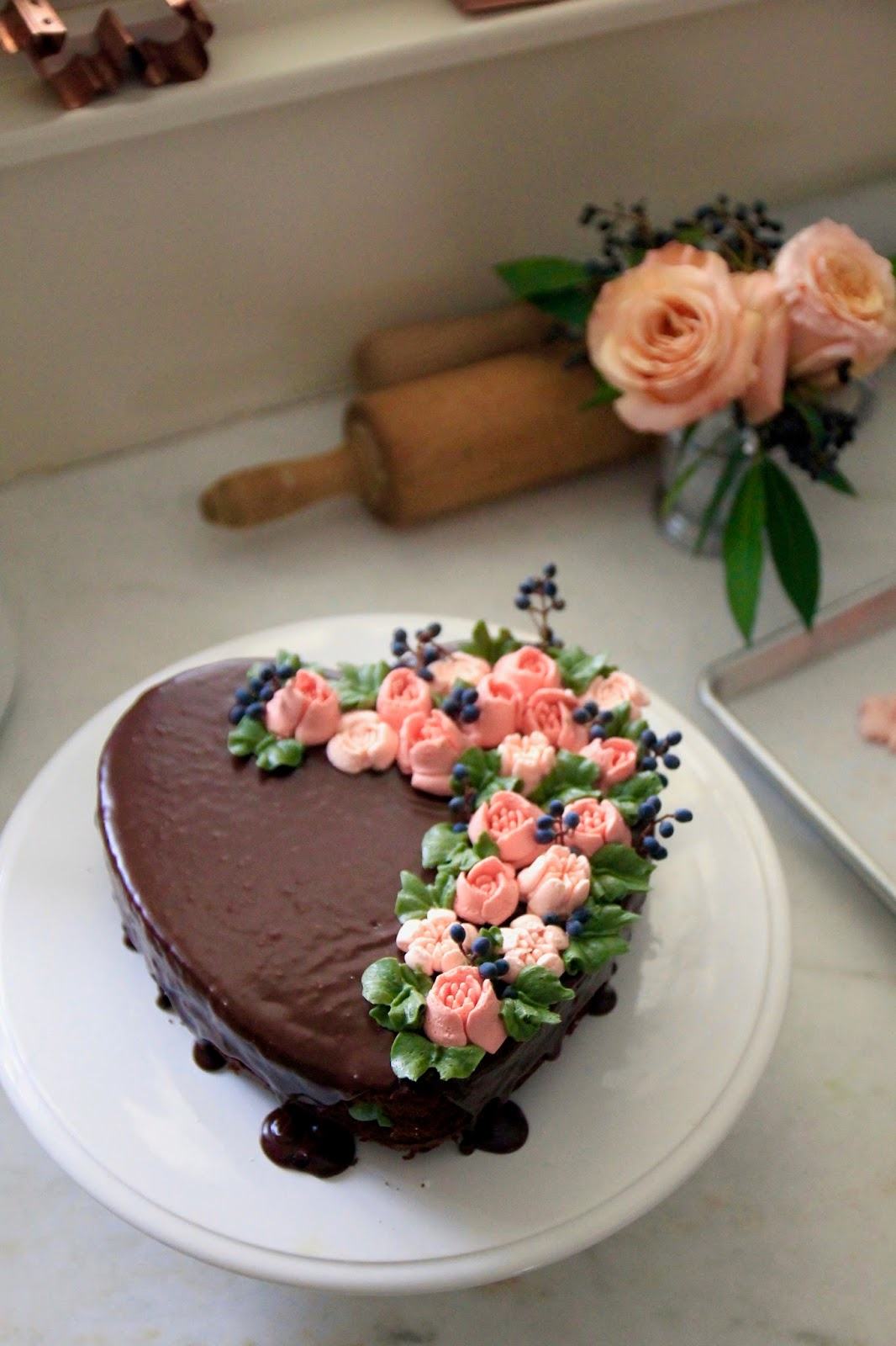 Jenny Steffens Hobick Easy Flower Adorned Heart Cake Homemade
