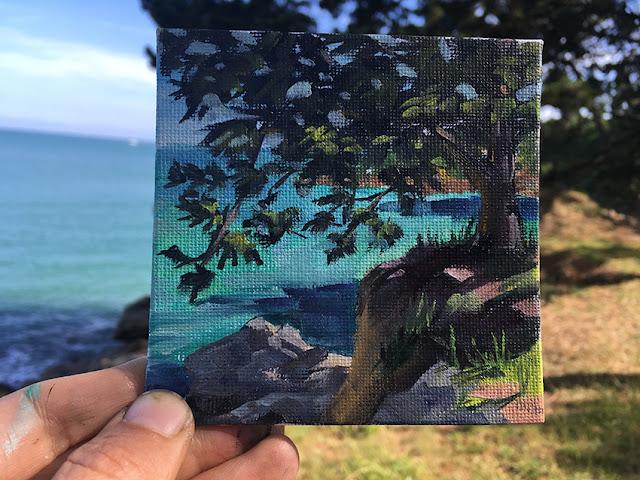arbre turquoise peinture à l'huile, tree oilpainting