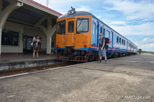 The train taking passenger through the border between Laos and Thailand