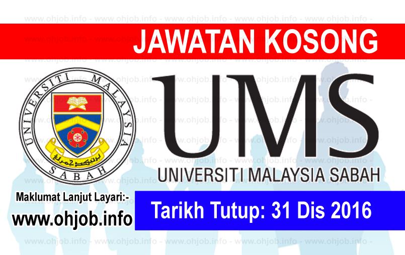 Jawatan Kerja Kosong Universiti Malaysia Sabah (UMS) logo www.ohjob.info disember 2016