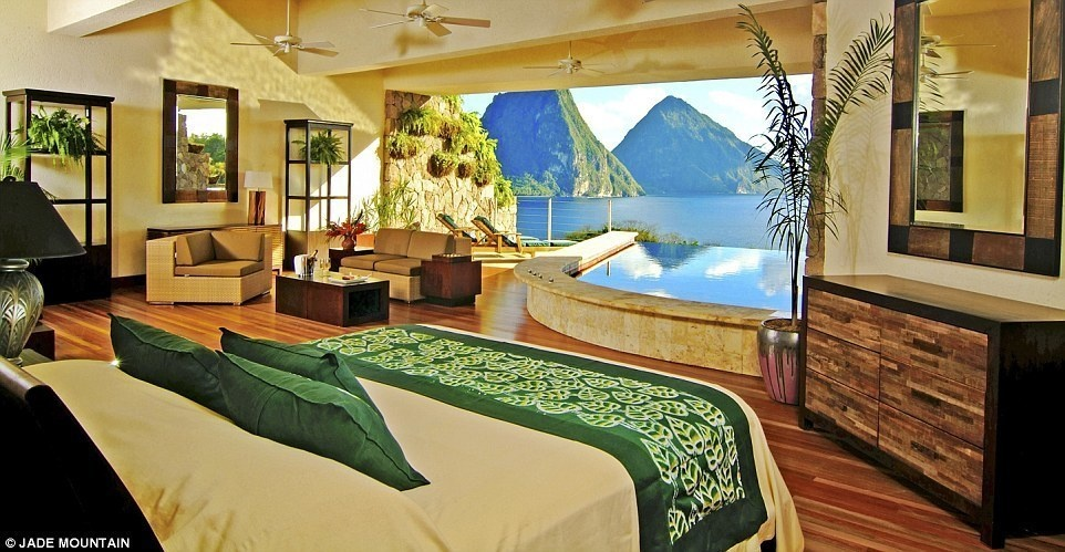 Jade Mountain, Saint Lucia - 15 Incredible Hotel Rooms Where You Can Sleep Under The Stars.