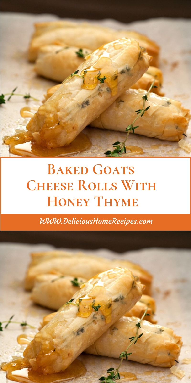 Baked Goats Cheese Rolls With Honey Thyme