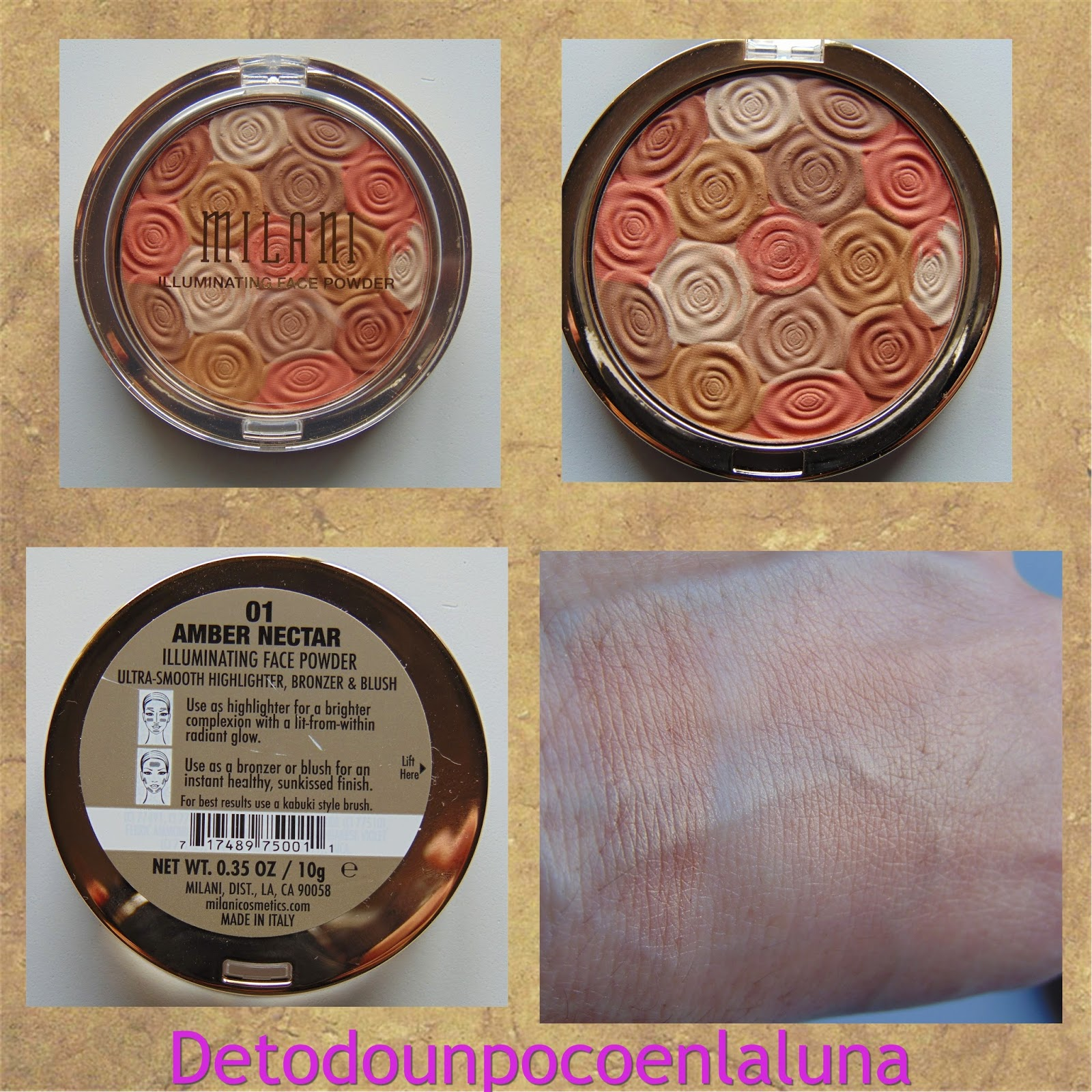 illuminating face powder amber nectar milani