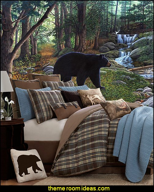 Early Morning Black Bears Mural Woolrich Hadley Plaid 4-piece Comforter Set