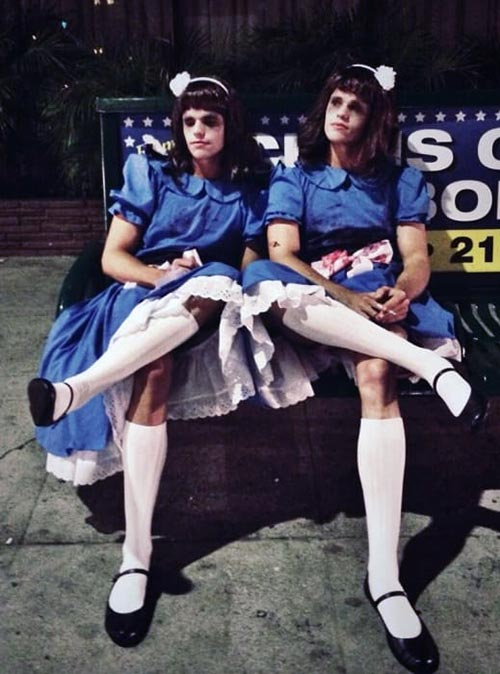 Brothers/sisters Max and Charlie Carver femulate The Shining twins for Halloween in 2013