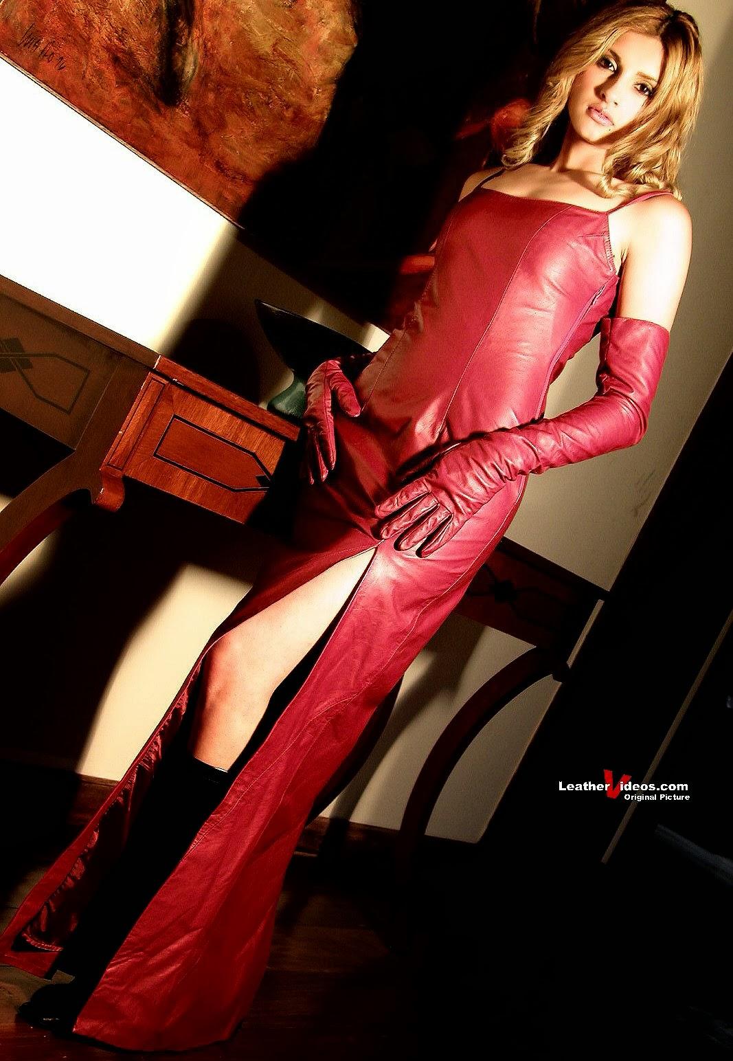 Leather Leather Leather Blog: Leathervideos Pink Leather Dress