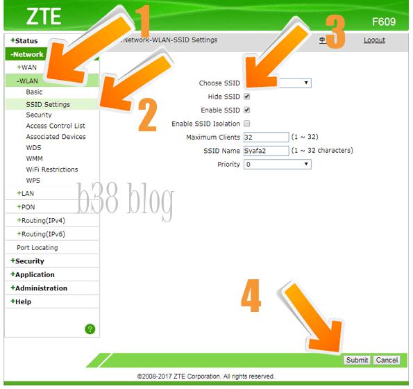 Cara Sembunyikan Sinyal Wifi Indihome ZTE F609
