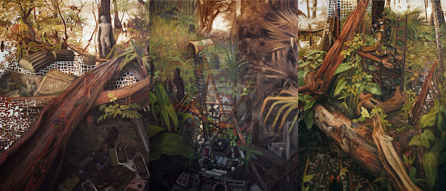 Tchefuncte River swamp allegorical landscape oil painting including digital devices and statuettes contemporary landscape painting nature technology pixelation distort space deteriorate post-apocalyptic cluttered classical nostalgic old new cyprus knees Jean Baudrillard simulation simulacra synthetic dreamscape Model for reality