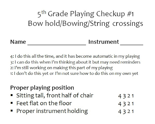 Elementary orchestra playing checkup assessment sheet