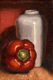 Oil painting of a red pepper beside a white porcelain vase.