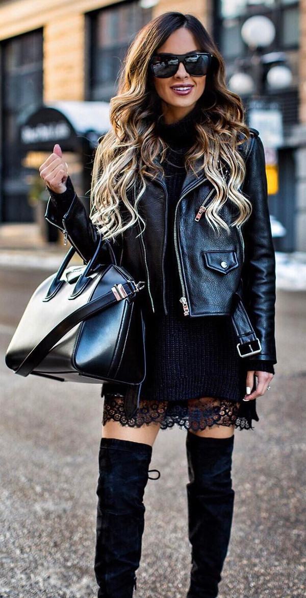 how to wear black street style: casual outfit with skirt and heels