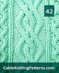 Cable Panel 42. Knit with 52 stitches and 15-row repeat. Techniques used: 2/2 right cross, 2/2 left cross, 2/1 right purl cross, 2/1 left purl cross.