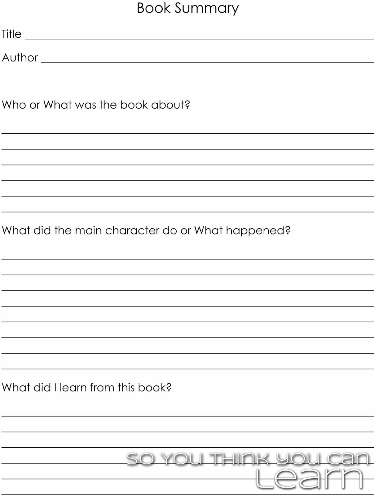 Form For Writing A Book Report Homework Center Writing A Book Report