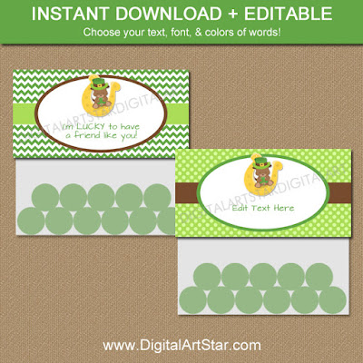 lucky st patricks day goodie bag toppers for kids