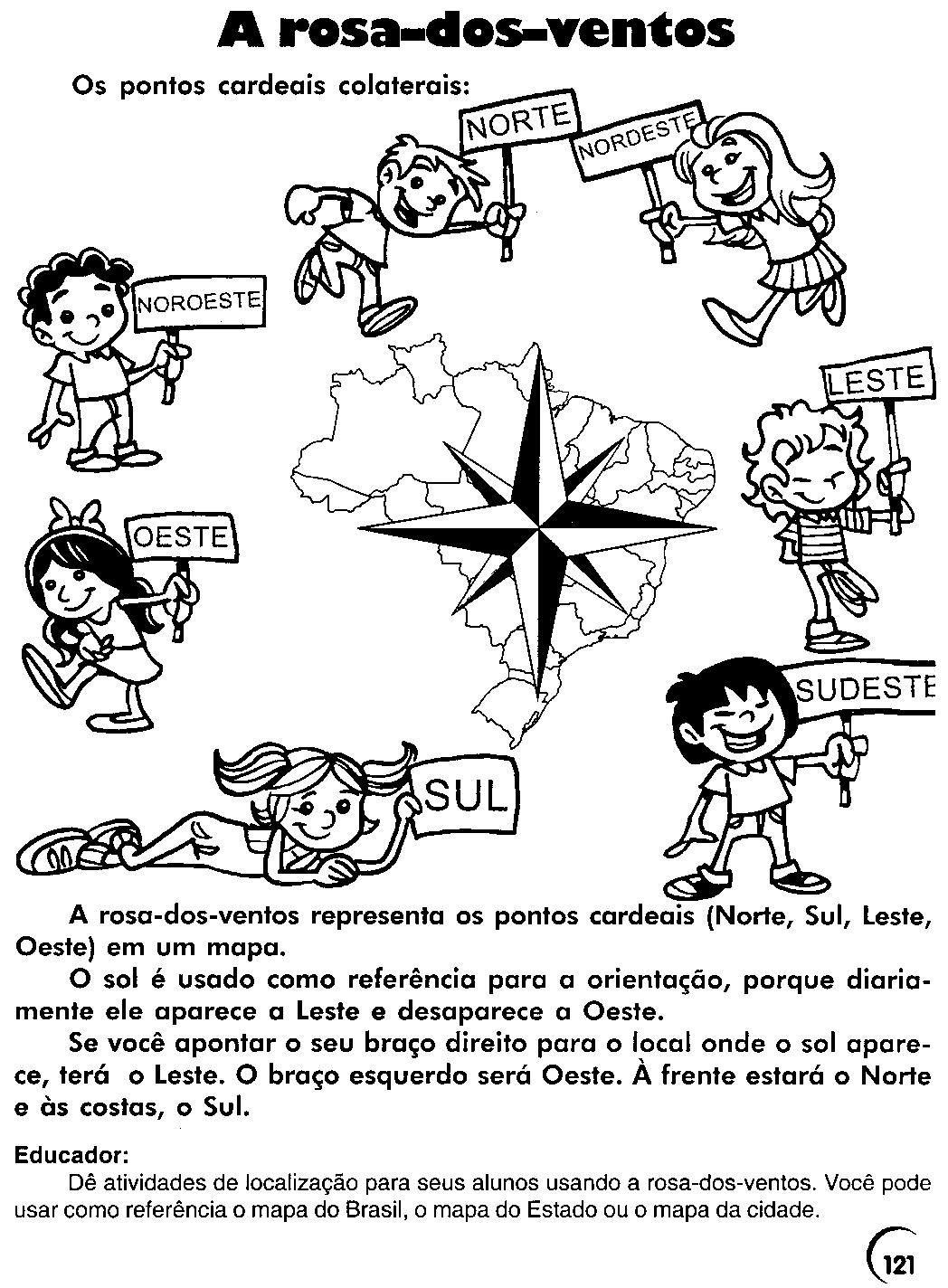 Escola Saber Atividades rosa dos ventos pontos cardeais ~ Rosa Dos Ventos Quarto Ano