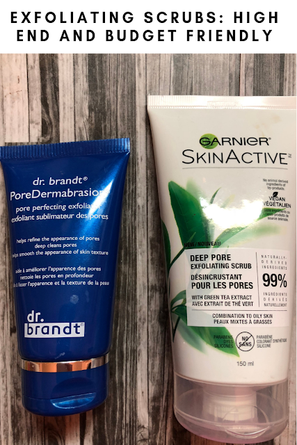 Exfoliating Scrubs: High End and Budget Friendly (Dr. Brandy PoreDermabrasion and Garnier SkinActive Deep Pore Exfoliating Scrub)
