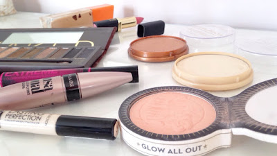 flatlay of everyday makeup products
